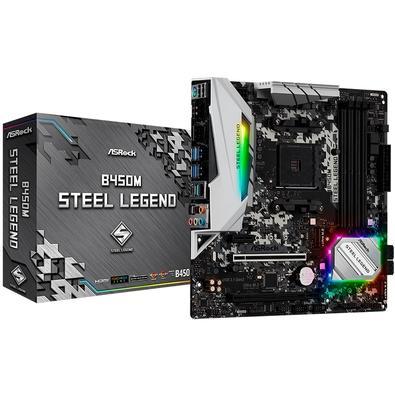 Placa-mãe ASRock B450M Steel Legend AMD DDR4 Resistente como aço, verdadeira lenda A Steel Legend representa o estado filosófico da sólida durabilidad