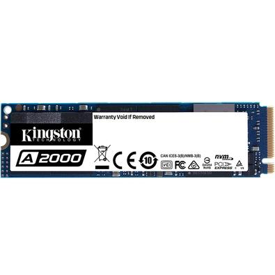 SSD Kingston A2000 250GB. Esse SSD da Kingston conta com velocidades de leitura de 2000/MBs e gravação de1.100/MBs, isso significa uma velocidade supe
