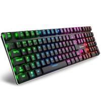 O teclado sem moldura tem um comprimento de 436 mm, 127 mm de largura e apenas 23 mm de altura quando os pés do teclado não estão sendo usados, tornan