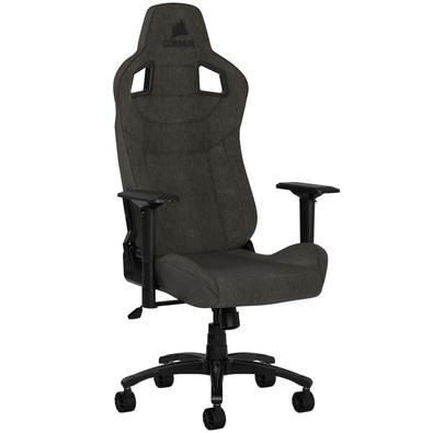 A cadeira para jogos CORSAIR T3 RUSH combina design e contornos inspirado nas corridas, com um exterior macio em tecido respirável, almofada acolchoad
