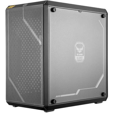 A MasterBox Q300L se une à TUF Gaming Alliance, carregando as marcas TUF nos filtros magnéticos e nos painéis laterais.
