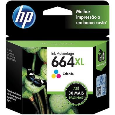 Cartucho HP 664XL Colorido Original Imprima fotografias coloridas com qualidade de laboratório e documentos diários com cartuchos de tinta HP de baixo