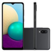 """Smartphone Samsung Galaxy A02 32GB - Preto  Com seu Display Infinito de 6.5"""", o Galaxy A02 oferece uma experiência imersiva na tela grande. Assim, vo"""
