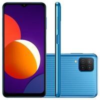 Smartphone Samsung Galaxy M12 64GB - Azul  Mais display significa mais espaço para jogar Expanda sua visão com o Infinity-V Display de 6.5 polegadas