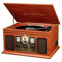 Toca Discos Victrola 6-em-1 Nostálgico gravador Bluetooth com toca-discos de 3 velocidades com CD e fita cassete. Nosso gravador Bluetooth 6 em 1 Vict