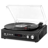 Vitrola 3 em 1 gravador Bluetooth com alto-falantes integrados e toca-discos de 3 velocidades. O toca-discos Vitrola 3 em 1 com tampa de acrílico remo