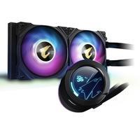 Water Cooler Gigabyte Aorus Liquid Cooler 240 LCD colorido circular exclusivo de 60x60mm, reprodução de vídeo / suporte de texto personalizado. A orie