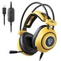 Headset Motospeed H19 USB LED 7.1 Driver 50mm Amarelo Esse é o fone ideal para quem busca conforto sem perder qualidade auditiva em sua gameplay! Proj