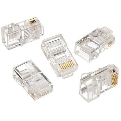 Conector utilizado para montagem dos cabos de rede, localizado em suas extremidades.