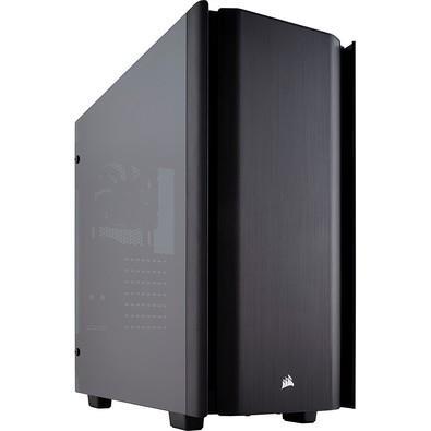 Obsidian Series 500D é um Gabinete de torre média de última geração com design icônico estilo CORSAIR, portas laterais de vidro temperado e acabamento