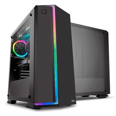 Gabinete NOX INFINITY NEON, Painel lateral em Vidro Temperado, Frontal com Iluminação Rainbow, 1 FAN RGB - NXINFINTYNEON