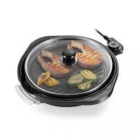 Panela Grill Multilaser Gourmet 220V, desenvolvida para você preparar carnes, frutos do mar, pizzas, omeletes, entre outros tipos de alimentos. Possui