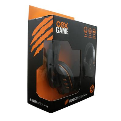 Headset Gamer Action OEX Preto/Laranja..