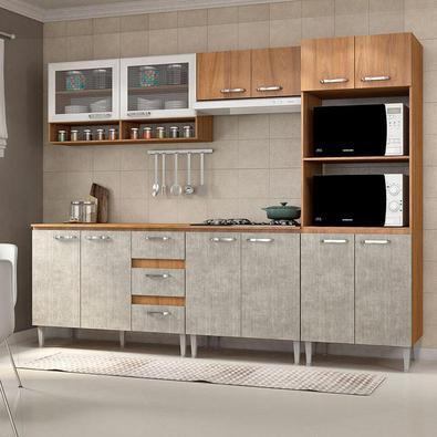 Perfeita para complementar o ambiente de sua cozinha! A Cozinha Compacta 12 Portas, 3 Gavetas e 4 prateleiras, foi produzida em estrutura MDP e possui