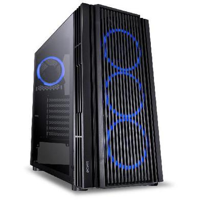 "Características gerais:Lateral em vidro temperado4 Fans de 120mm inclusosSuporta cable managementTool-less e tool-freeBaias:1 x HD 3,5"",2 x SSD 2,5"",7"