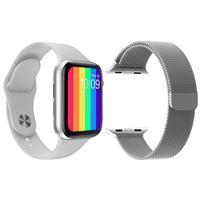 Kit 1 Relógio Inteligente SmartWatch IWO12 Lite Branco Android iOS + 1 Pulseira Extra Milanese Prata..