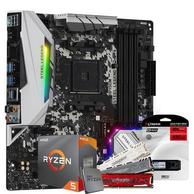 Kit Upgrade Skill, Placa mãe Asrock B450M Steel Legend AMD AM4, AMD Ryzen 5 3600 4.2Ghz, 8GB DDR4, SSD 480GB..