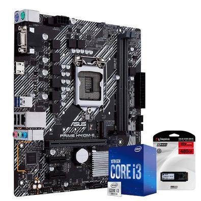 Kit Upgrade Skill Placa Mãe Asus H410M-E, Processador Intel Core i3 10100F 4.30Ghz Décima Geração, SSD Kingston 480GB - 42624..