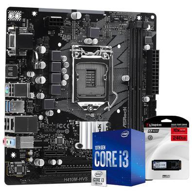 Kit Upgrade Skill Placa mãe Asrock H410M-HVS LGA 1200, Processador Intel Core i3 10100F 4.30Ghz Décima Geração, SSD Kingston 240GB..