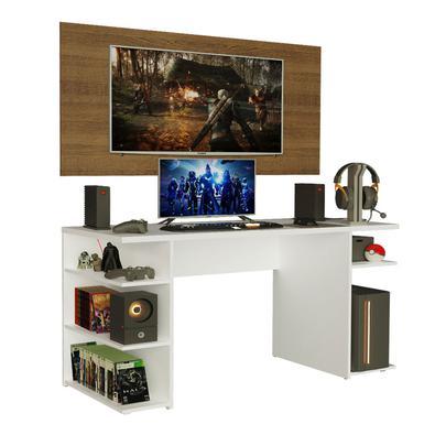 O Conjunto da Mesa Gamer 9409 da Madesa + Painel para TV oferece conforto, otimização de espaço e um design moderno. A mesa comporta perfeitamente mon