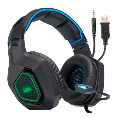 Headset Gamer Knup, Com Microfone, Com Iluminação, USB, PC, PS3, PS4, Xbox One, Azul e Preto - KP-488..