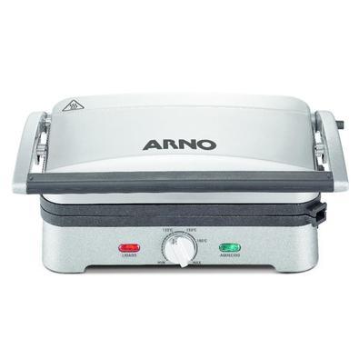 Este grill da Arno possui abertura 180º com aquecimento nas duas placas, permitindo que ele seja usado tanto aberto quanto fechado. Suas placas são an