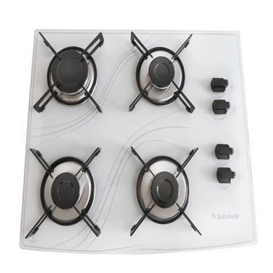 O Cooktop Safenelli vem com 4 bocas, trempes individuais com borracha, é de fácil instalação, com angulação e encaixe perfeito na mesa, garantindo mai