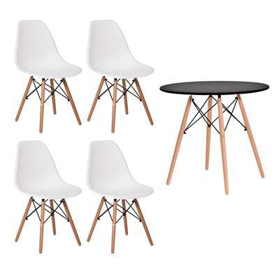 Conjunto Kit 4 Cadeiras Eiffel Eames + 1 Mesa Eames 80cm, Base Madeira Sala - Cadeiras Branca e Mesa Preta...
