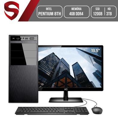 Computador Completo Monitor 19.5´´ Intel Pentium 8ª Geração 4GB DDR4 SSD 120GB HD 3TB (Placa de vídeo Intel UHD 610) Placa mãe ASUS Skill HomeJob