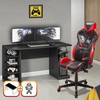 Kit Bela Cadeira Gamer MoobX Fire Profissional Deluxe + Mesa Gamer XP Preto/Vermelho.
