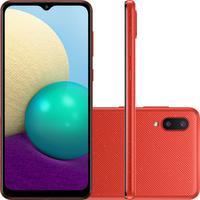 """Smartphone Samsung Galaxy A02 32GB, Tela Infinita de 6.5"""", Câmera Traseira Dupla, Android 10.0, Vermelho"""