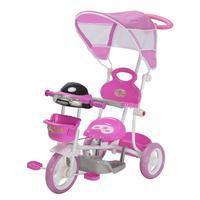 Triciclo Infantil 2 em 1 com Capota, Rosa - BW003