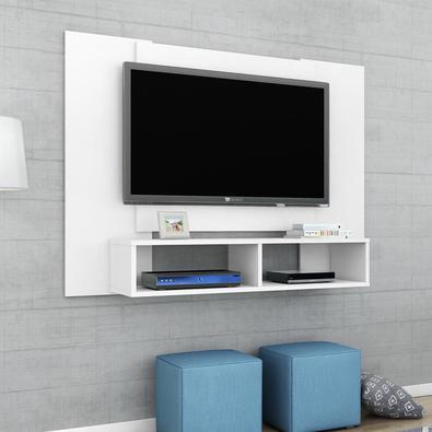 Painel para TV Ideal para qualquer sala, com dois nichos, excelentes para acomodar objetos decorativos, aparelhos eletrônicos etc. Foi elaborado em Md