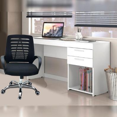 Conjunto Cadeira Boston Preta com Escrivaninha Notável com 2 Gavetas ideal para Escritório Branco Agora seu escritório, na sua casa ou na sua empresa,
