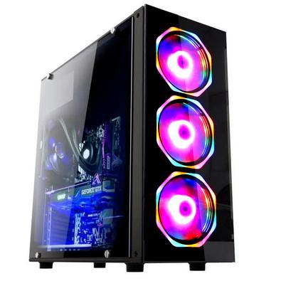 O Computador Premium Gamer Fácil é a peça central do espaço de trabalho, com a capacidade de acomodar as configurações necessárias desde profissionais