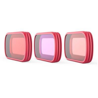 Este kit de filtros de mergulho para Osmo Pocket da Pgytech é composto por 3 diferentes tipos: 1 filtro vermelho, 1 filtro magenta e 1 filtro snorkel,