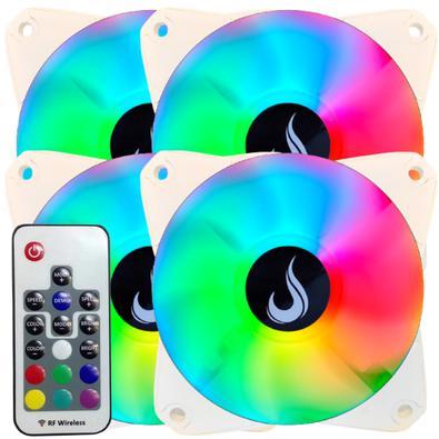 Kit com 4 Cooler Fan Branco Led RGB, 120mm com Controle Remoto