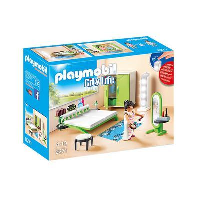 Diversão para pequenos heróis do cotidiano: quarto PLAYMOBIL, conjunto de jogos com 1 mulher, luminária real e muitos acessórios para reprodução detal