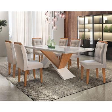 Sutileza é a palavra que define esse Sala de Jantar Yasmin com cadeiras Carol em imbuia/veludo creme e vidro serigrafado. Designer moderno e elegante,