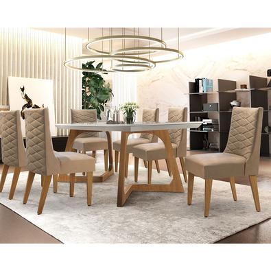Sutileza é a palavra que define esse Sala de Jantar Safira com cadeiras em imbuia/veludo creme vidro serigrafado. Designer moderno e elegante, vai dei