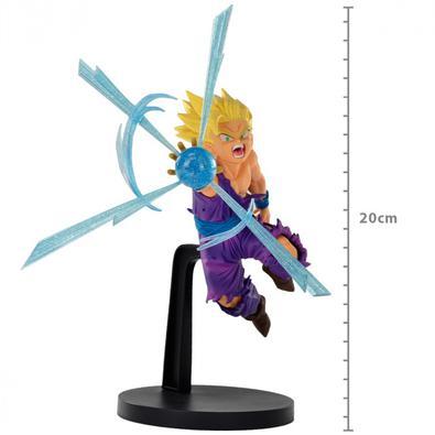 Baseado em sua aparência em Dragon Ball Z, esta figura G x Materia de Super Saiyan Gohan apresenta uma explosão de energia azul translúcida com uma po