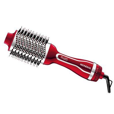 Escova Secadora, Mondial, ES-07, Vermelho/Prata - 220v   3 EM 1 - Com o poder do secador unido à praticidade da escova, você seca, alisa e modela os c