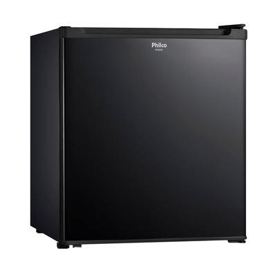 Frigobar Compacto Preto Philco Porta Reversível PFG50P 47 Litros  é compacto e tem capacidade de 47 litros. Você pode organizar o que precisa, as prat