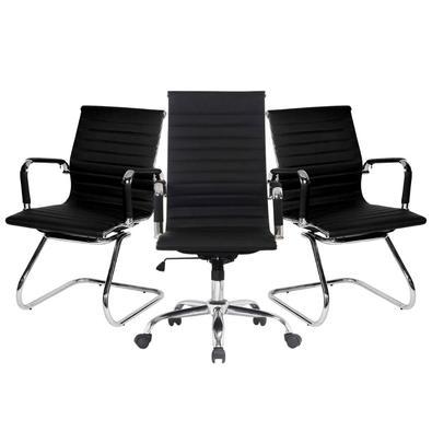 Conjunto com 1 Cadeira Presidente Giratória e 2 Cadeiras Executivas base fixa para Escritório Esteirinha Boston Preta As Cadeiras da linha Boston da B