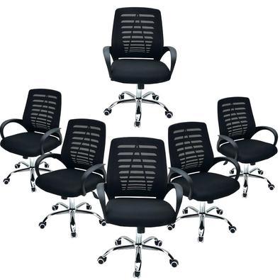 Conjunto 6 Cadeiras de Ecritorio Diretor Viena Tela Preta A Cadeira Executiva Viena proporciona elegância e sofisticação para seu ambiente, seja profi