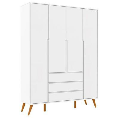 Guarda Roupa Infantil Retrô Clean 4 Portas Branco Soft Eco Wood - Matic Procurando  móveis para o quarto do bebê? Apresentamos o Guarda Roupa da linha