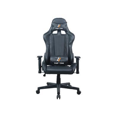 Cadeira Gamer giratória, estofada com material de malha e base de nylon.