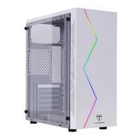 Gabinete Gamer com iluminação RGB no painel frontal Pintura na cor Branco Brilhoso Painel frontal texturizado Entrada de ar lateral na parte frontal d