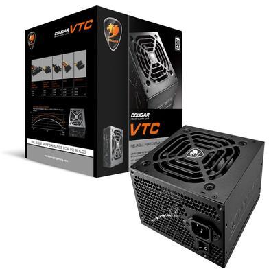 Fonte Cougar VTC500   Certificado 80-PLUS White O desempenho do VTC supera os requisitos do padrão 80 PLUS, alcançando até 84% de eficiência em 115Vac