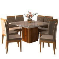 Conjunto de Mesa para Sala de Jantar Ana com 8 Cadeiras Alice-Cimol O Conjunto de Mesa para Sala de Jantar Ana 1,30X1,30 com 8 Cad. Alice da Cimol vai